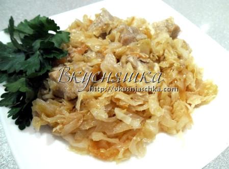 изображение Капуста тушеная с мясом в мультиварке рецепт с фото