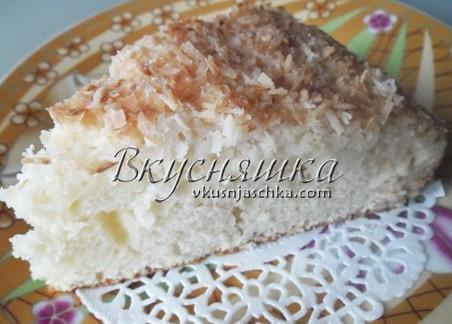 изображение Кокосовый пирог со сливками рецепт с фото