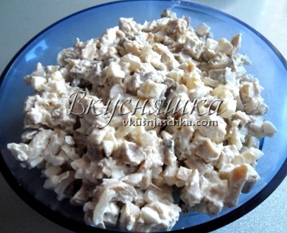 изображение Салат из курицы с грибами рецепт с фото очень вкусный
