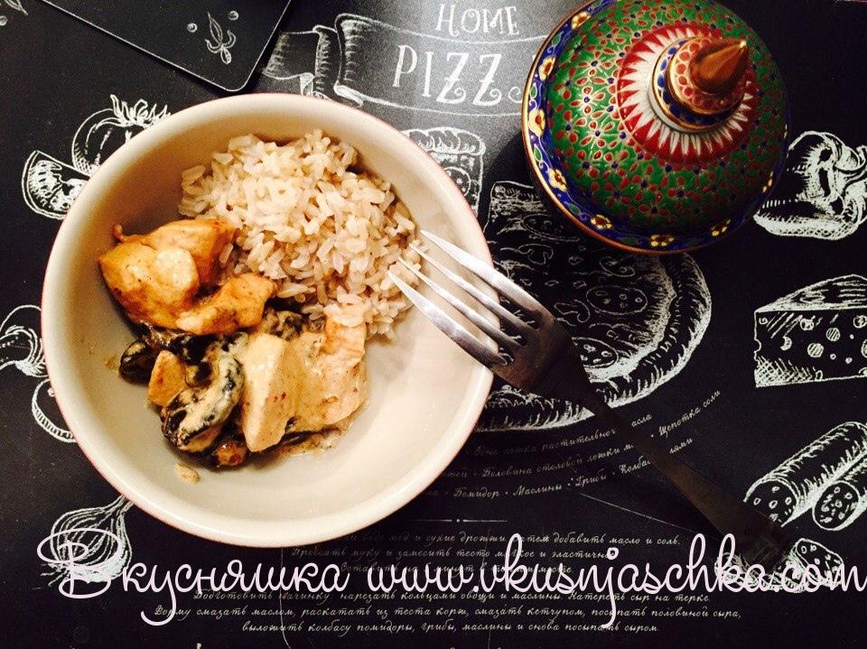 """изображение """"Курица в сливочном соусе рецепт на сковороде"""""""