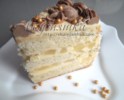 Бисквитный ананасовый торт