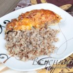 """изображение """"Курица с гречкой в духовке, рецепт с пошаговыми фото"""""""